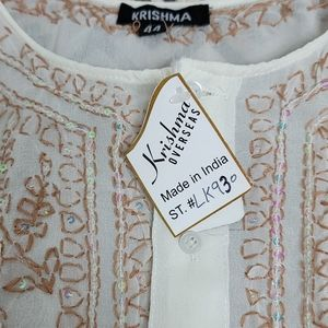krishma Tops - NWT Cream Sheer Long Sleeve Embroidered  Blouse